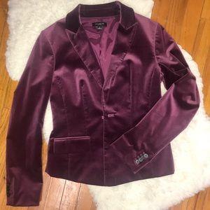 Retro Ann Taylor purple burgundy velvet blazer